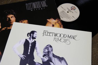 Viersen, Germany - July 9. 2020: Closeup of Fleetwood Mac band vinyl record cover collection