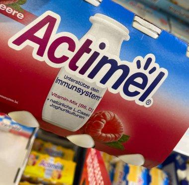 Viersen, Germany - July 9. 2020: View on Actimel yoghurt packet in german supermarket (focus on center of box)