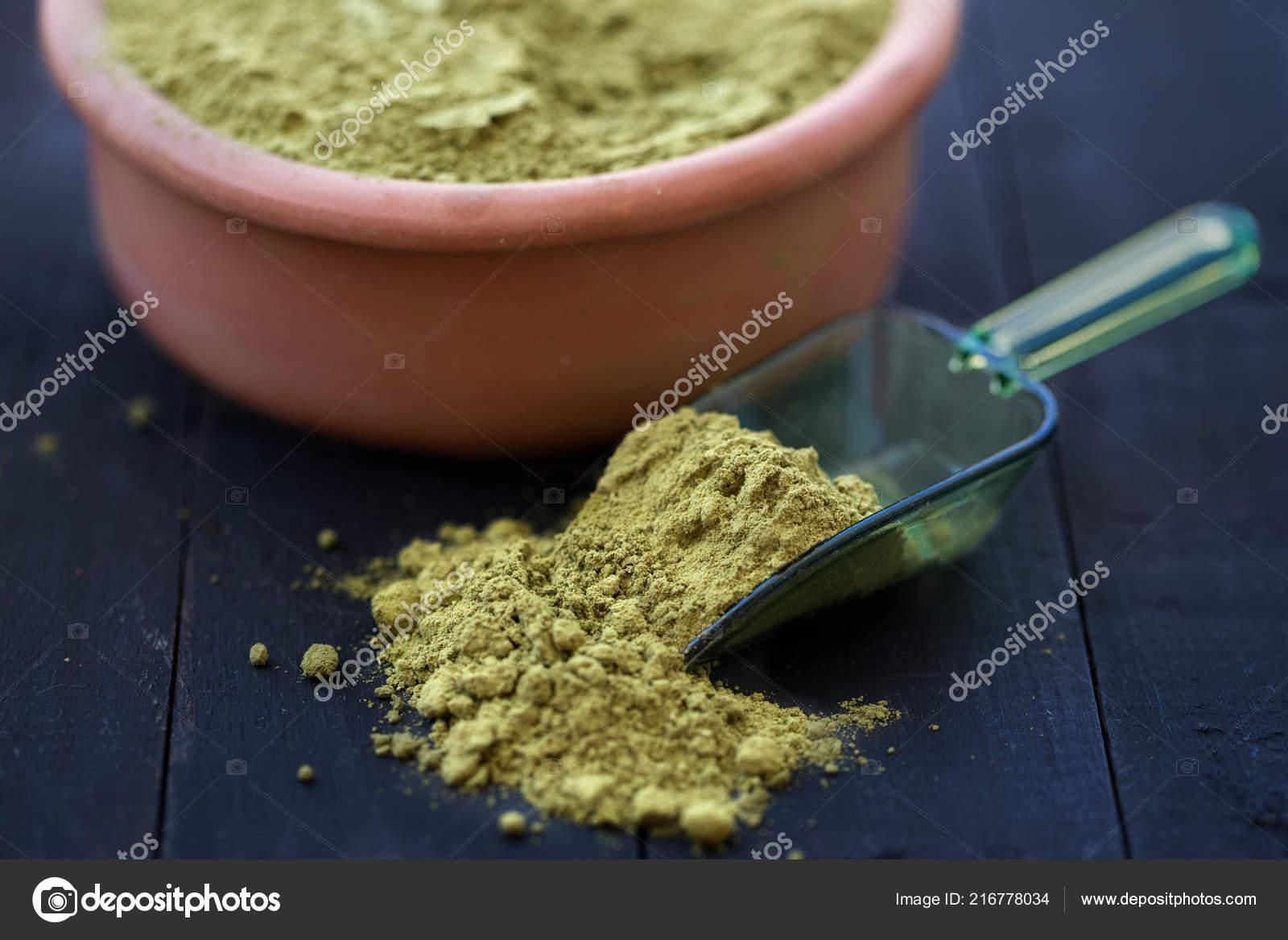 Natural Dry Henna Powder Bowl — Stock Photo © rmpln #216778034