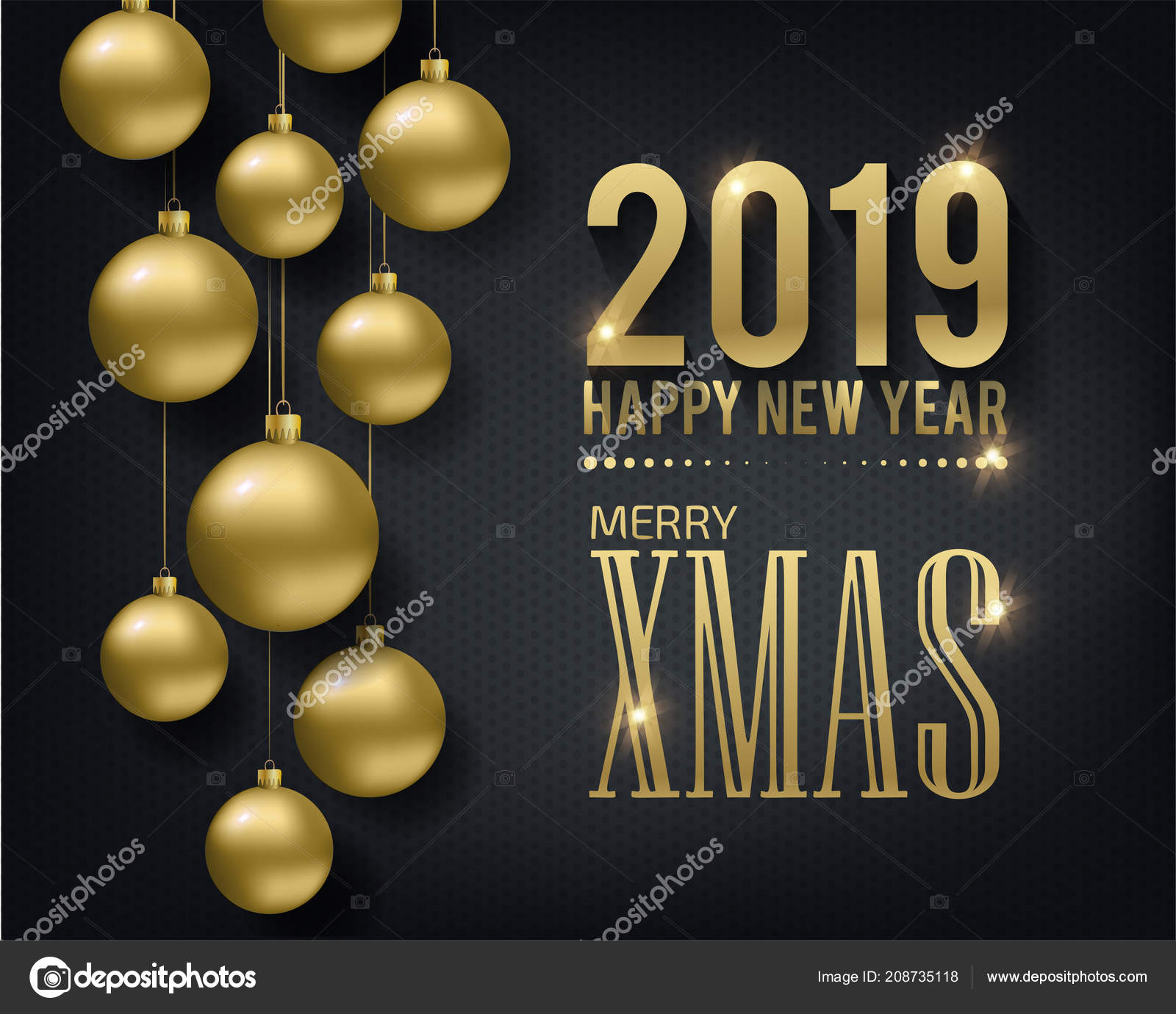 greeting card invitation with happy new year 2019 and christmas metallic gold christmas balls decoration shimmering shiny confetti on a black