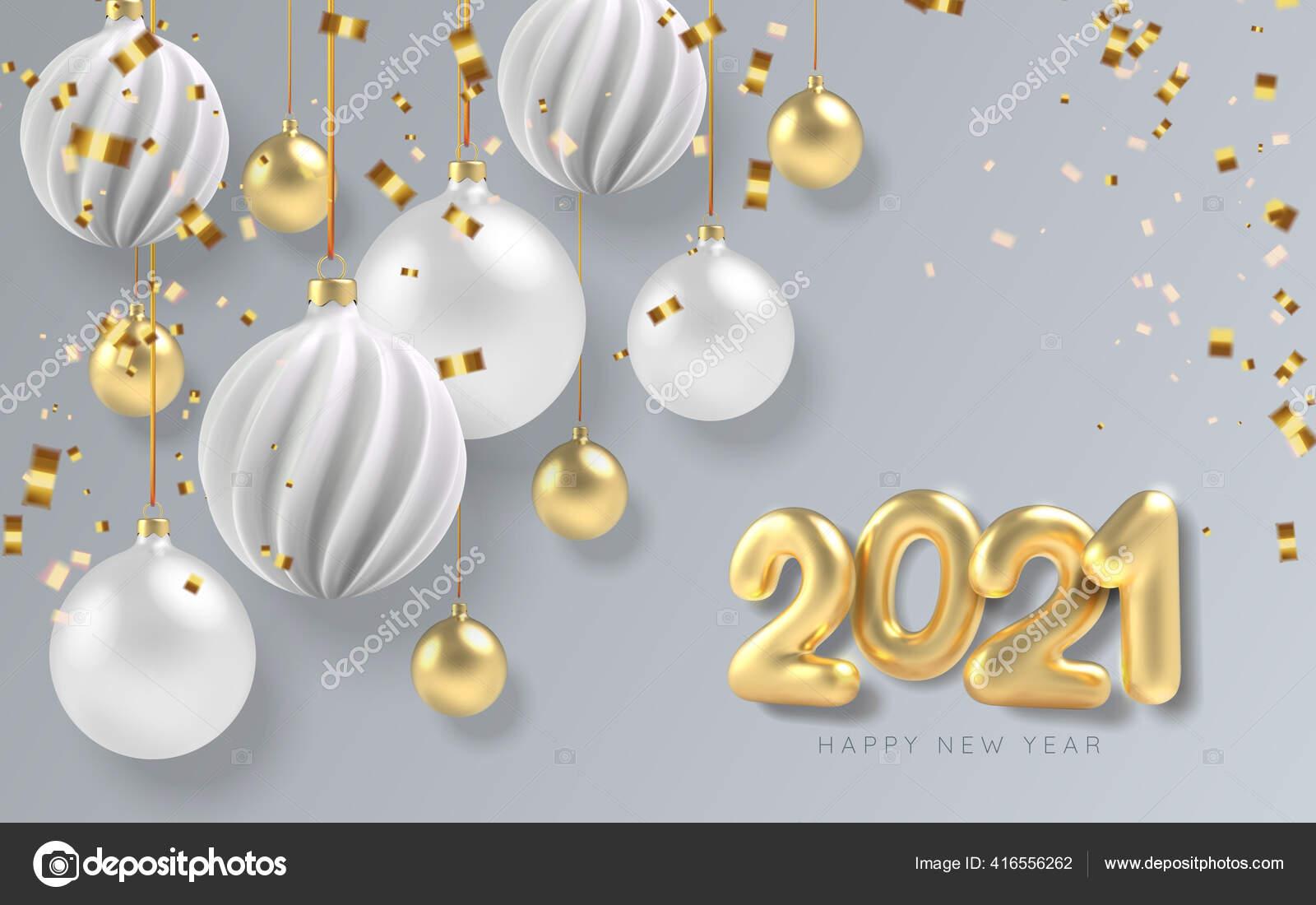 2021 Happy New Year Background White And Gold Christmas Ball In Realistic Style Emas Serpentin Realistis Vektor Stok Vektor C Katrinaku 416556262