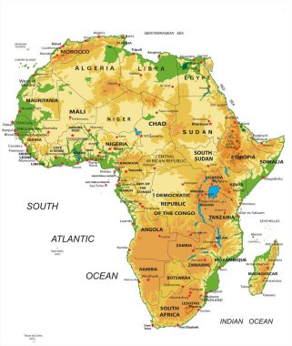 Highly detailed physical map of Africa,in vector format,with all the relief forms,countries and big cities.