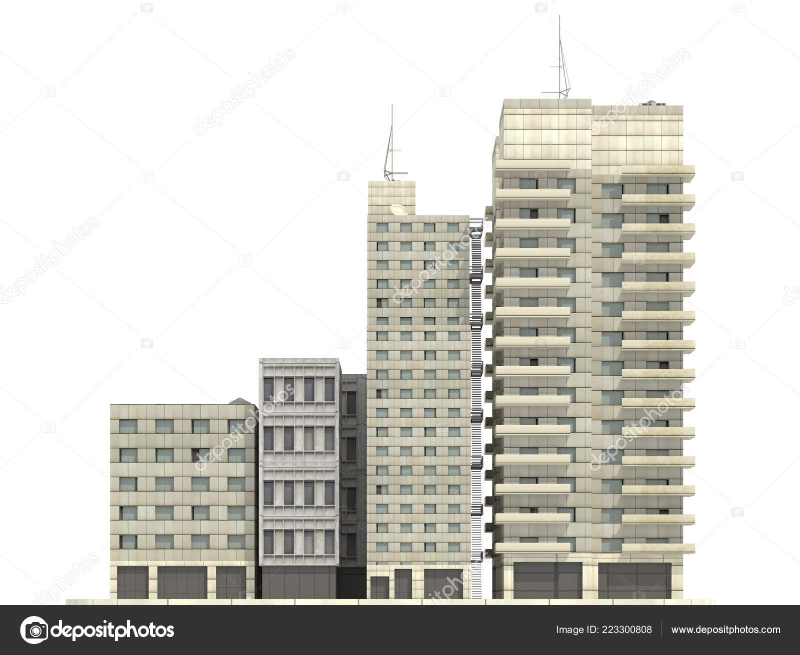 Modern buildings isolated on white background 3d illustration ...