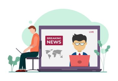 Vector illustration graphic of newscast on Gadget. Man looking for news on gadget. Good for posters or infographics. Vector illustration
