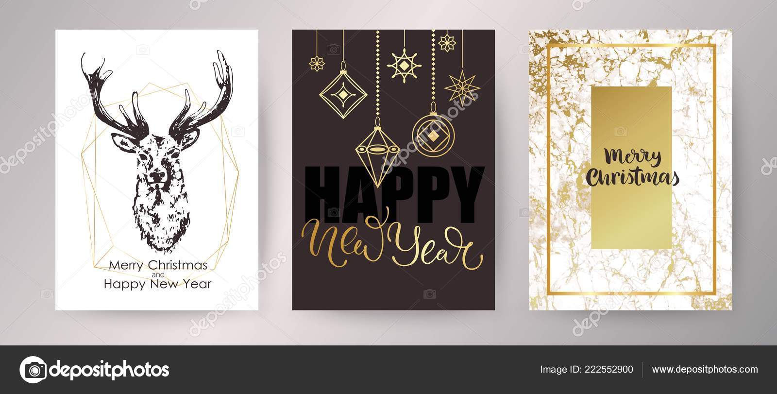 happy new year invitation design black and gold marble background hand drawn rustic holiday decor winter seasonal lettering vector by olga_c