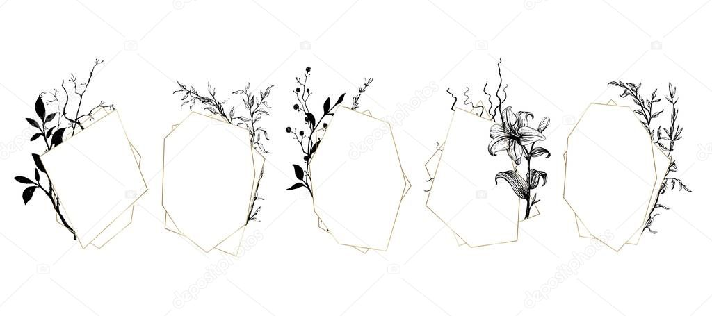 Set of geometric frames with botanical illustrations. Wedding arrangement design template. Floral bouquet composition.