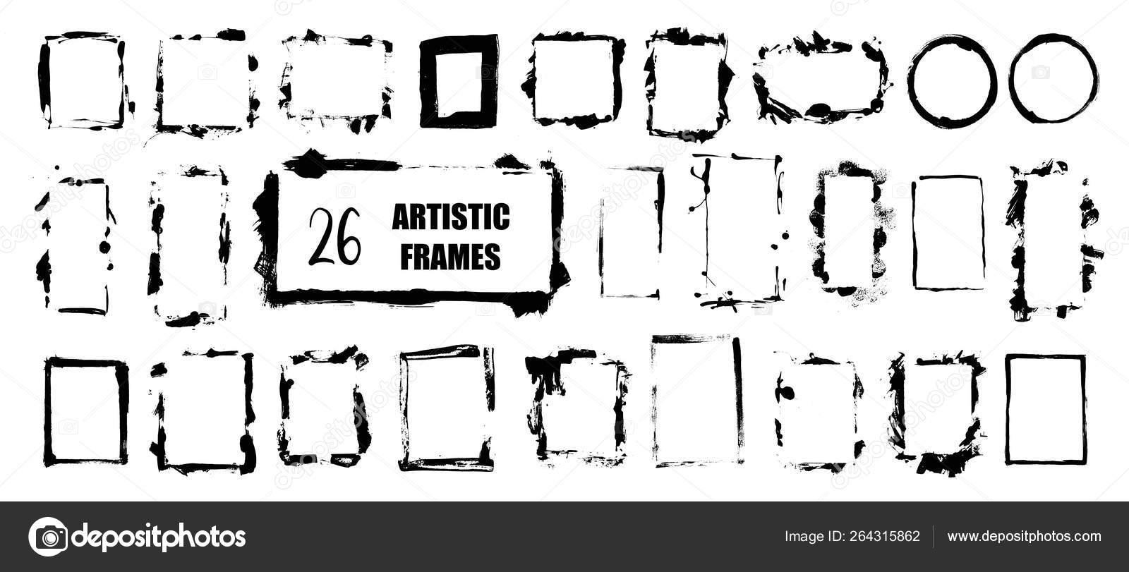 Set Hand Drawn Artistic Frames Grunge Brush Stroke Frame Quote Stock Vector C Olga C 264315862