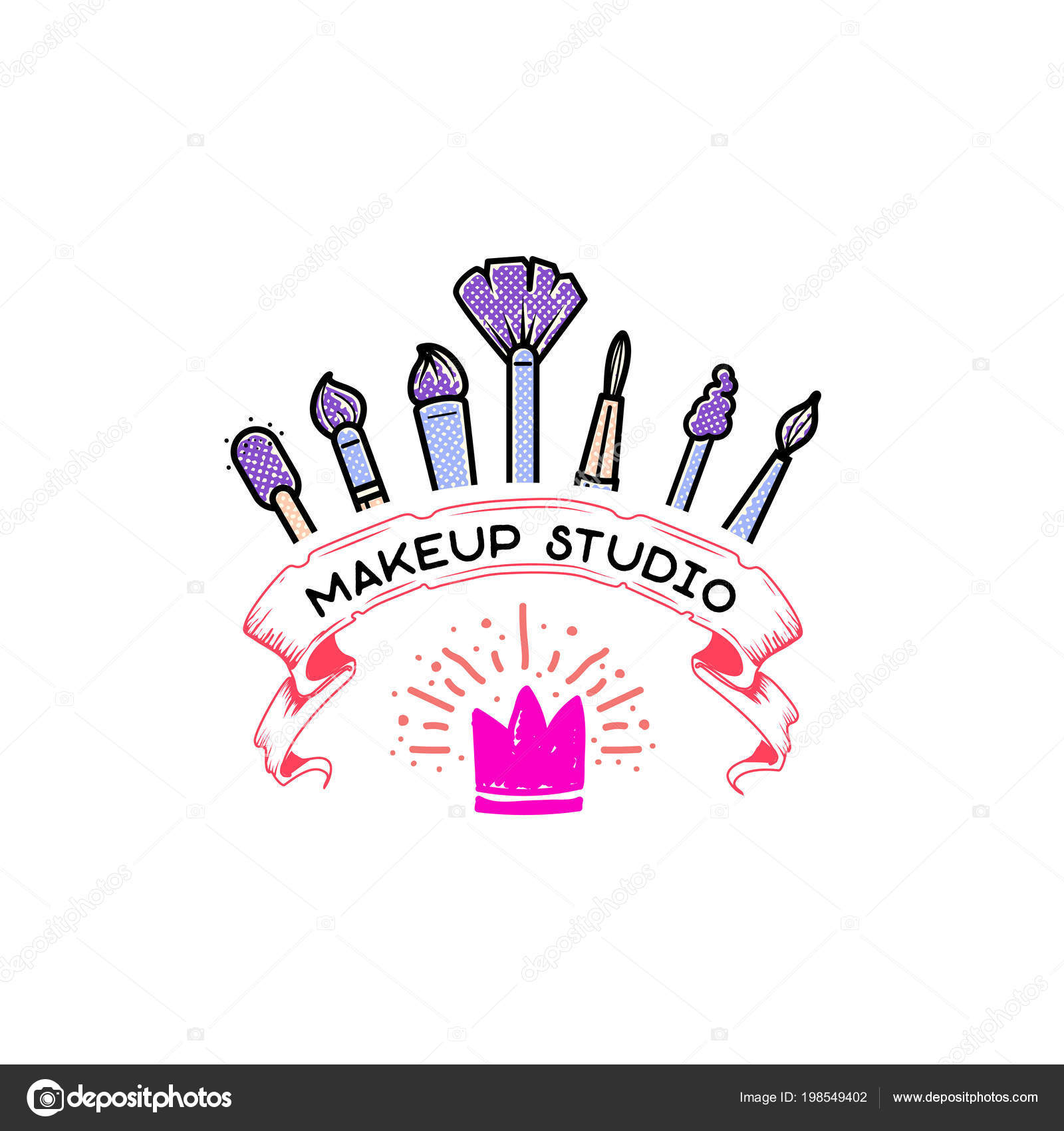 Cosmetics logo, handwritten lettering .Makeup studio, Web elements ...