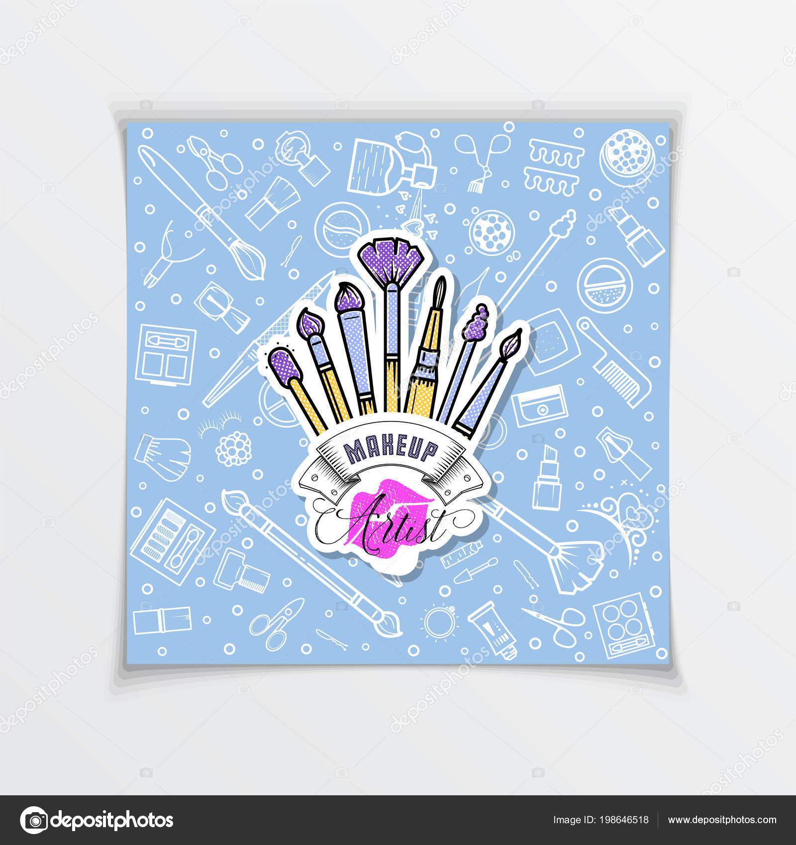 Modle Social Rseaux Logo Cosmtiques Manuscrit De Lettrage Studio Maquillage Et Manucure Des Lments Web Pour Un Blog Site Carte Visite
