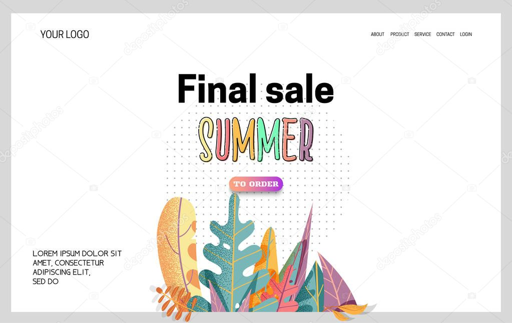 Landing Page -Summer Final Sale, leaves on the background