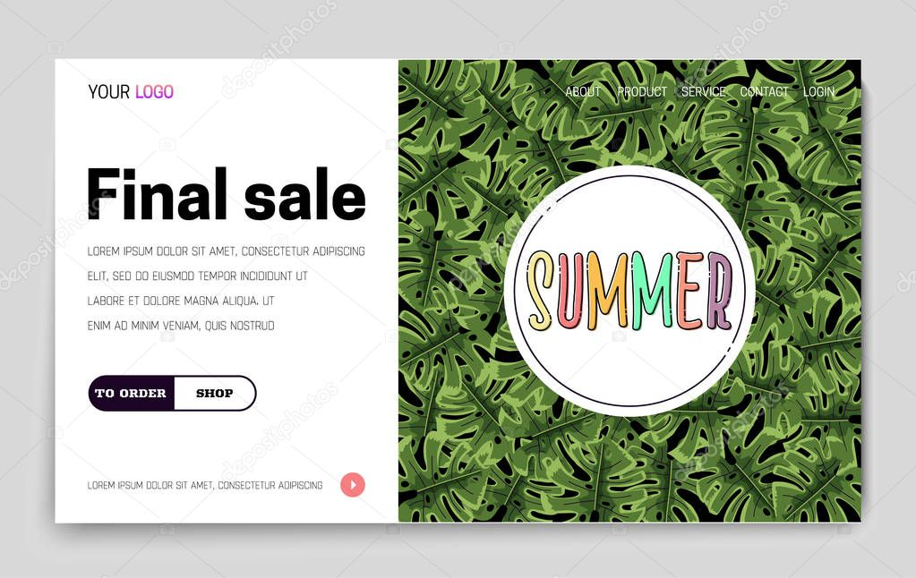Landing Page -Summer Final Sale, leaves tropical jungle on the background