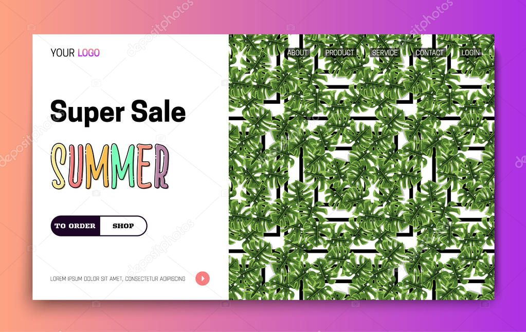 Landing Page -Summer Super Sale, leaves on the background