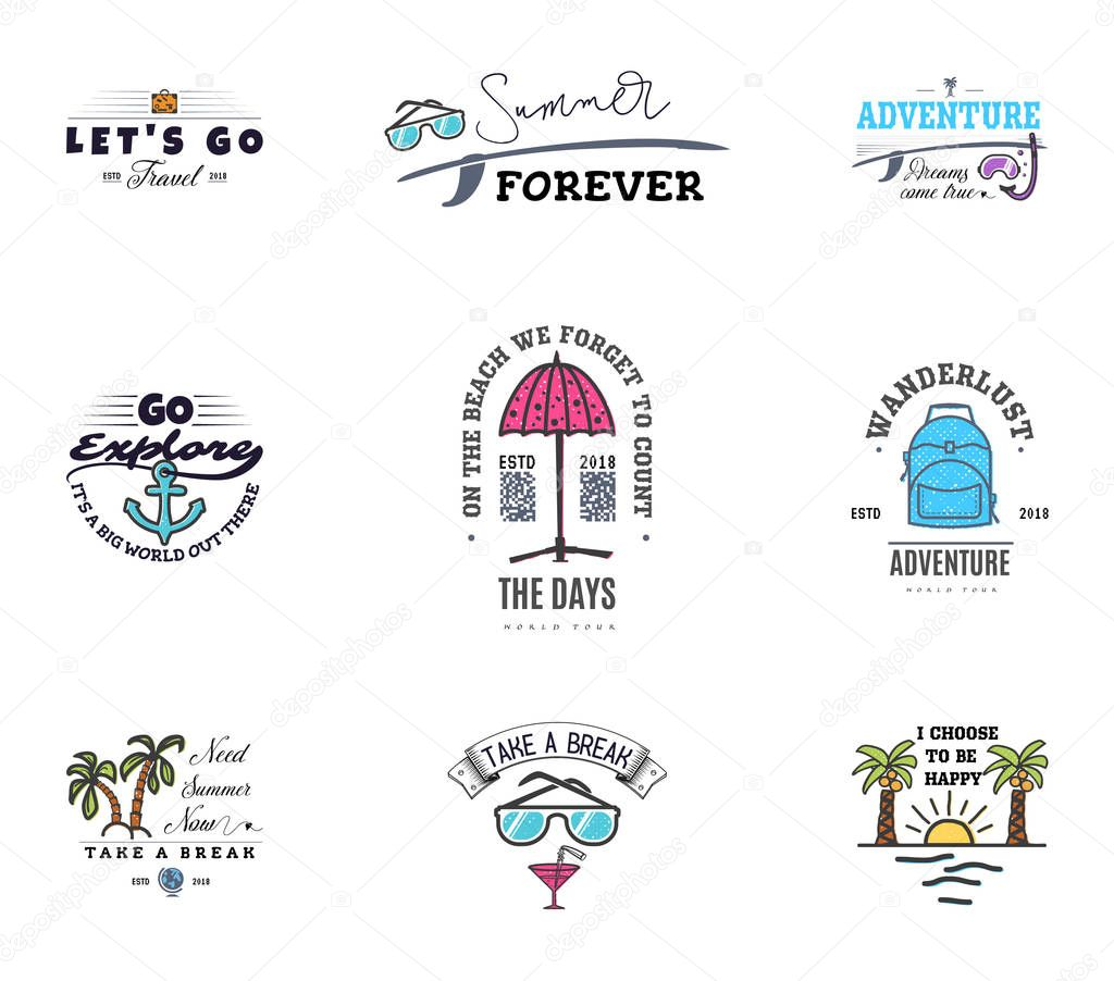 Adventures begin on vacation, banner templates, for social networks with quotes for relaxing on the beach and the sea.