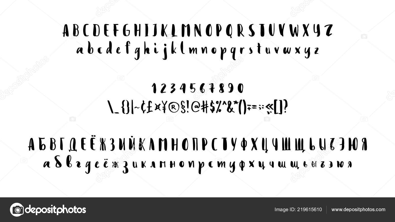 Russian and Latin fonts brush  Translation into picture from