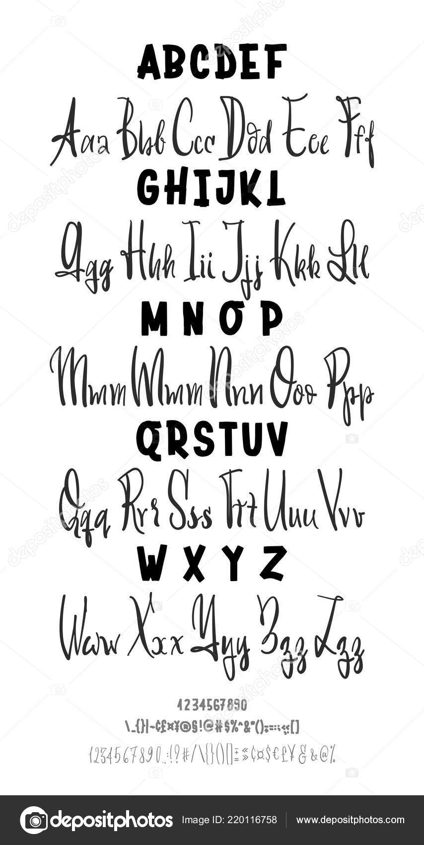 Two Font Vector Hand Drawn Typeface Brush Painted Letters
