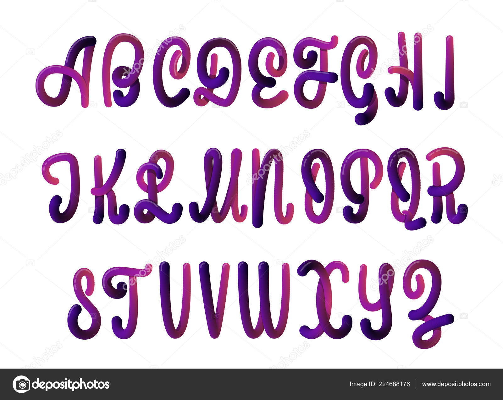 Font set with letters  Glossy alphabet  3D render of bubble