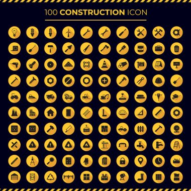 100 construction isolated icons, worker, tool, reparation, mechanics, builder, garage