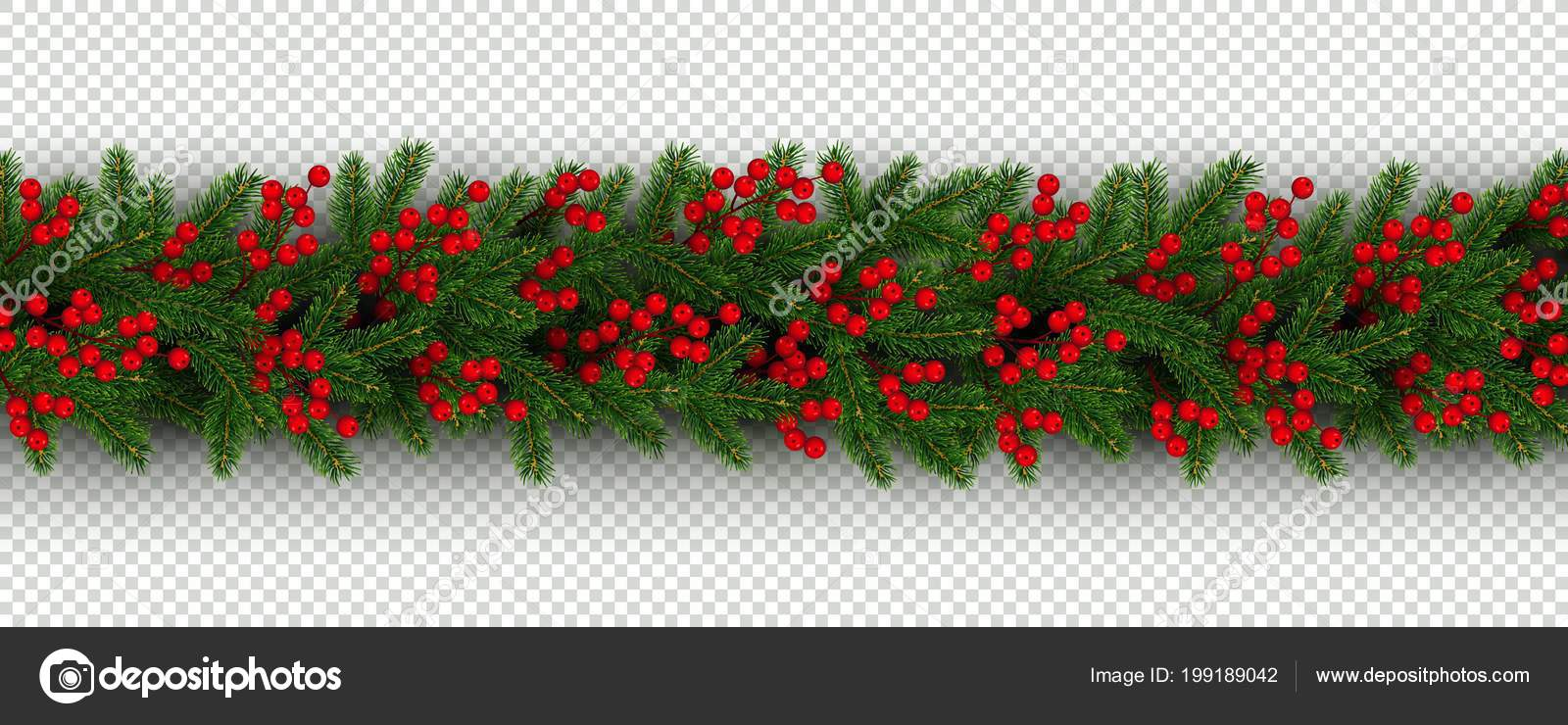 christmas and new year border of realistic branches of christmas tree and holly berries element for festive design isolated on transparent background vector