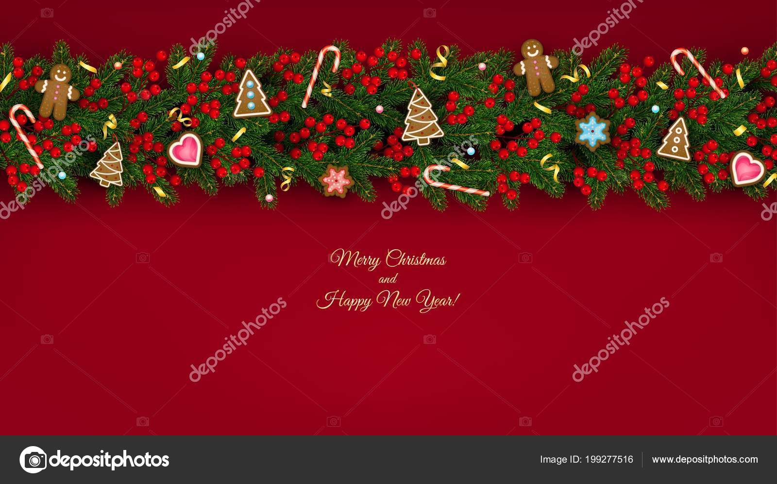 christmas and new year banner of realistic branches of christmas tree holly berries christmas cookies festive design isolated on transparent background