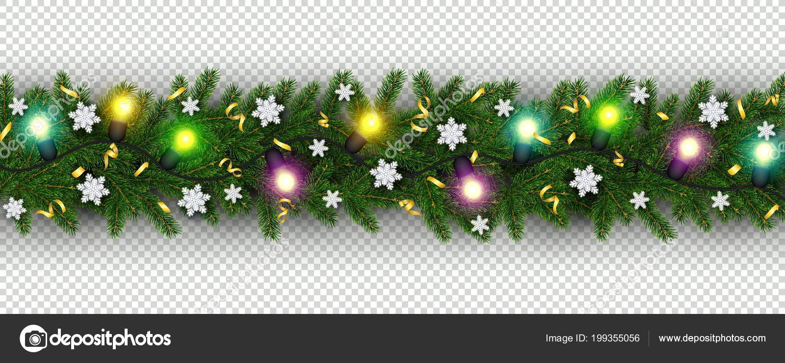 christmas and new year border of realistic branches of christmas tree garland snowflake serpentine element for festive design isolated on transparent