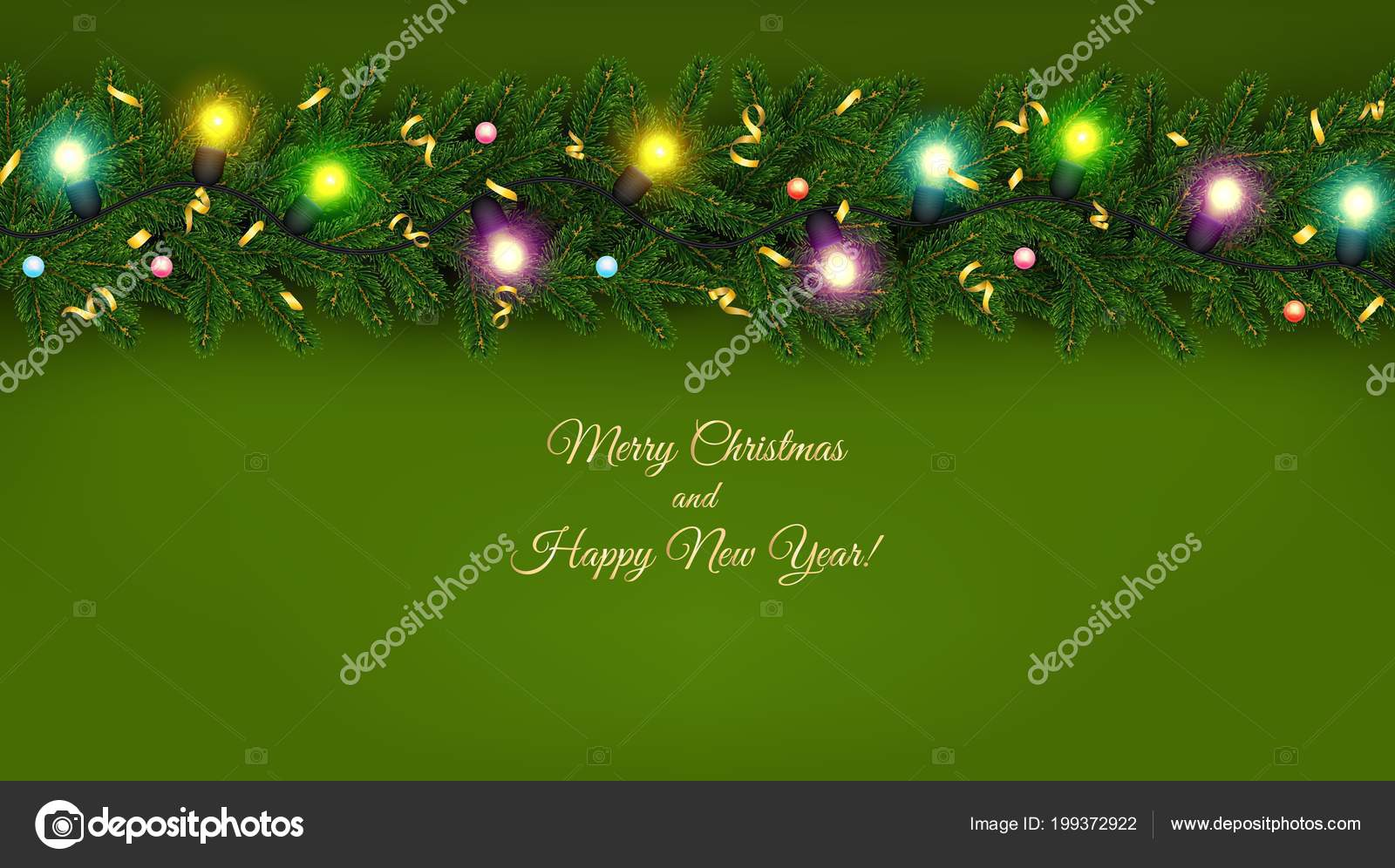 christmas and new year banner of realistic branches of christmas tree garland with glowing light bulbs serpentine festive background vector illustration
