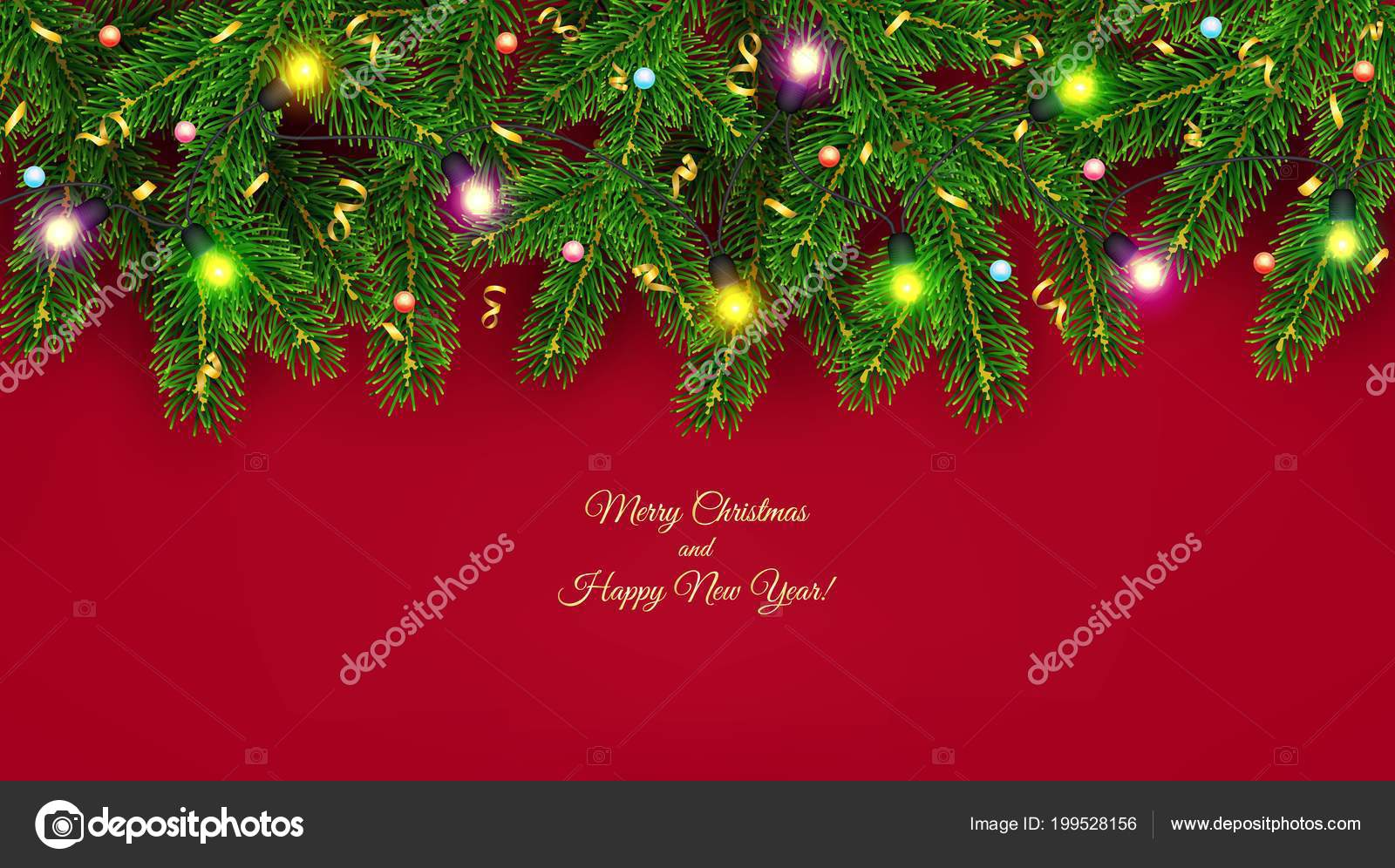 christmas and new year banner of realistic branches of christmas tree garland with glowing light bulbs holly berries serpentine festive background vector
