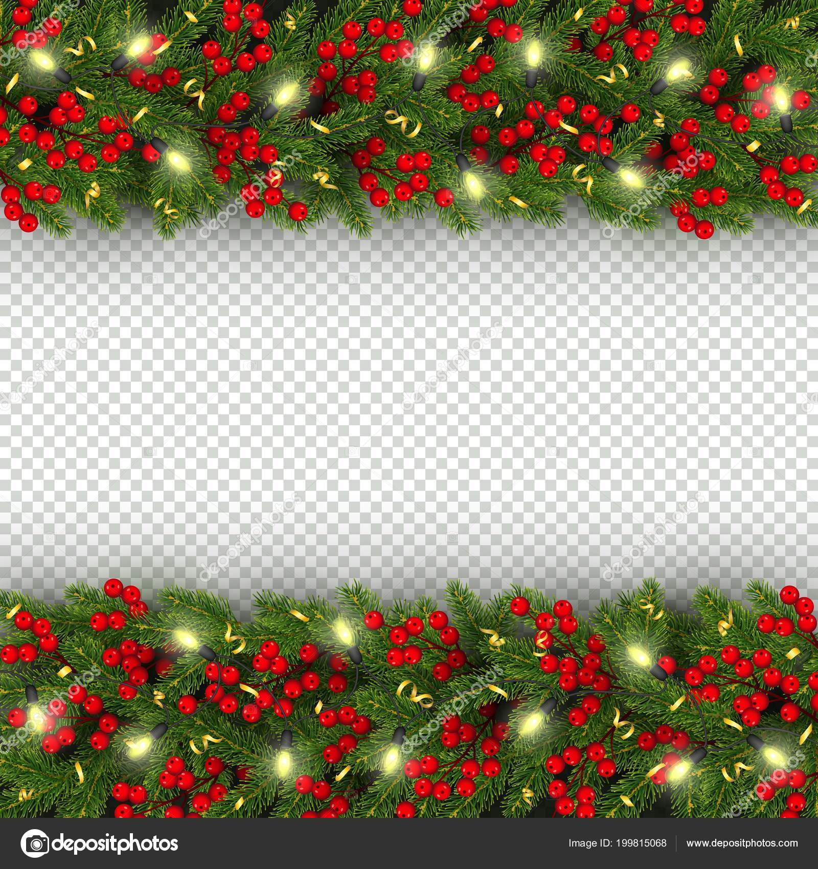 christmas and new year banner template with of horizontal realistic branches of christmas tree garland with glowing lightbulbs holly berries