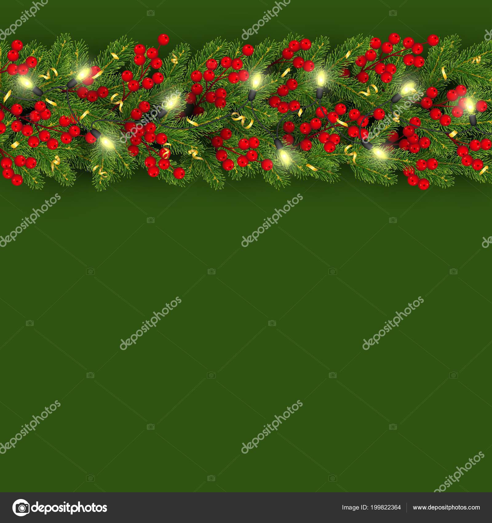 christmas and new year banner template with realistic branches of christmas tree garland with glowing lightbulbs holly berries serpentine festive