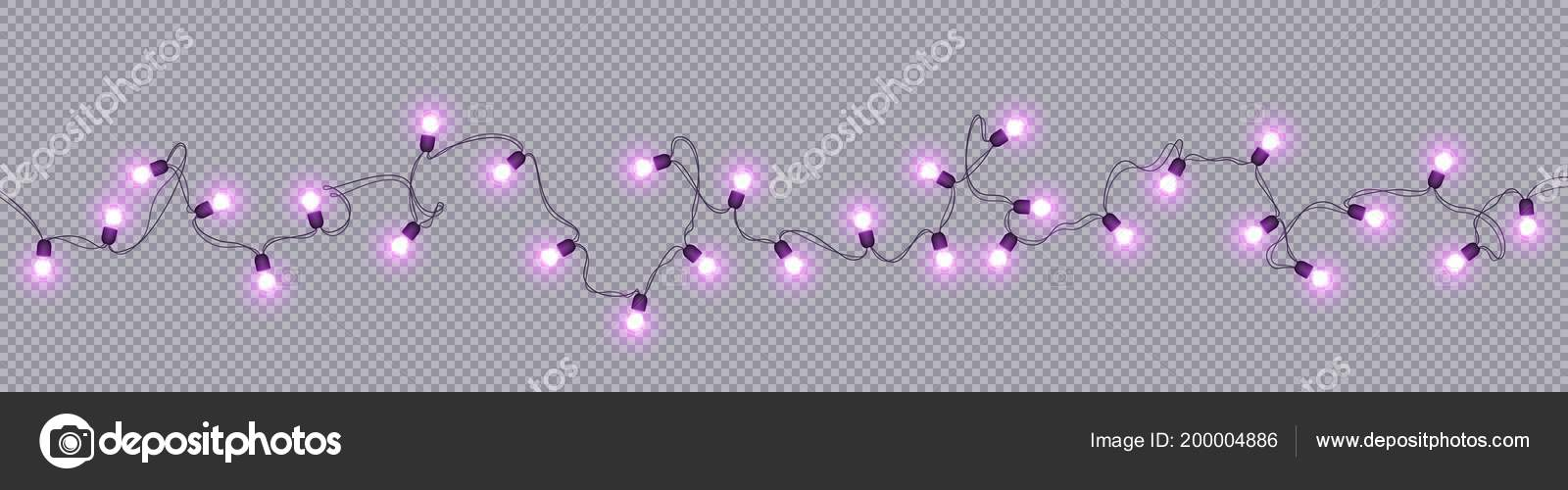 Glowing Light Bulbs Christmas And New Year Realistic Garlands Isolated On Transparent Background Xmas Decorations For Festive Design Of Postcards Banners