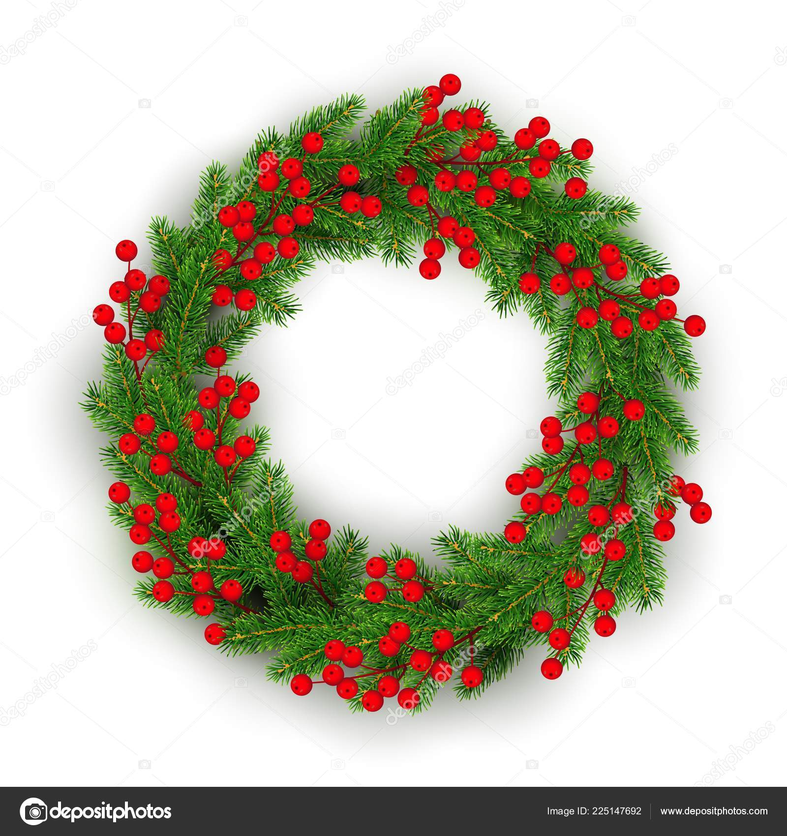 Christmas Wreath Realistic Christmas Tree Branches Holly Berries