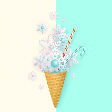 Ice cream in a waffle cup with stylized snowflakes, pastel, minimalism, abstract vector illustration