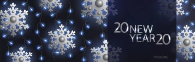 2020 New Year and Christmas horizontal black banner, silver snowflakes, blue lightbulb