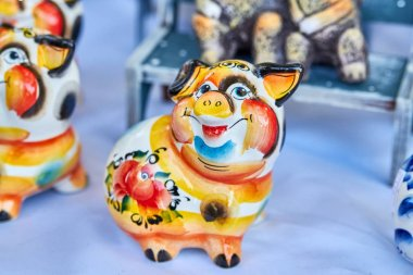 Handmade ceramic pig figure is a symbol for 2019 year
