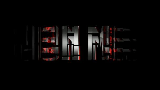 Animazione di testo di Iron Man. Assemblare il testo sfumato di grigio e bianco con bordo rosso su sfondo nero.