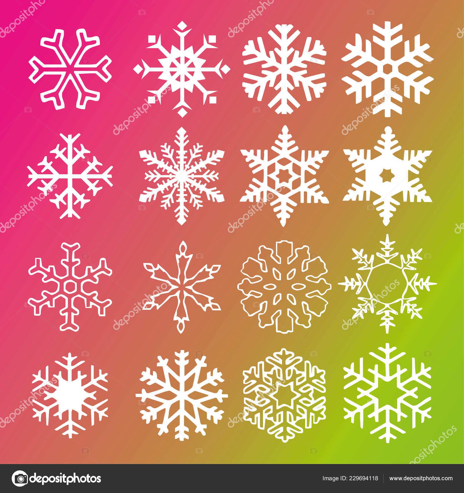 2019 Weiße Weihnachten.Schneeflocke Vektor Icon Farbverlauf Hintergrund Set Ufo Grün Und