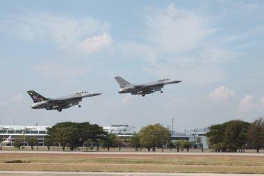 Bangkok - Jan 09: F16 aircraft displayed at Children's Day event at the Royal Thai Air Force.