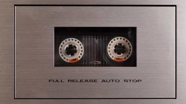 Studio shot of old Vintage tape recorder playing music