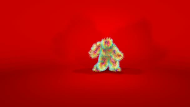 Amazing Monkey Character Dancing against Red Background