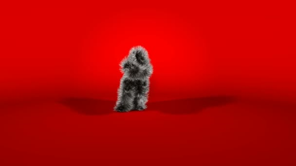 Dark Character Dancing Gangnam Style against Red Background