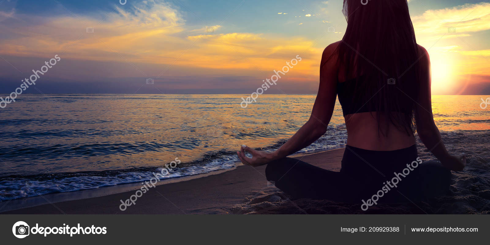Yoga Meditation Banner Woman Lotus Pose Seaside Beach Background Picturesque Stock Photo C Wdnet 209929388