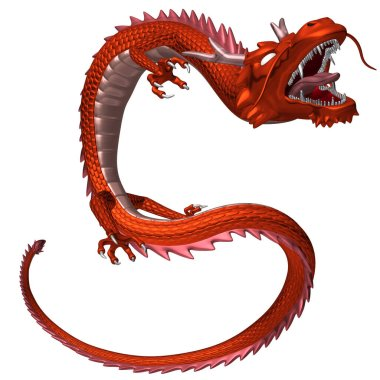The red dragon yelling with the mouth wide open, 3D illustration