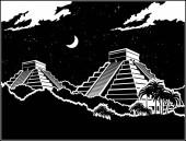 Fotografia Illustrazione stilizzata di vettore delle antiche piramidi Maya nella giungla di notte