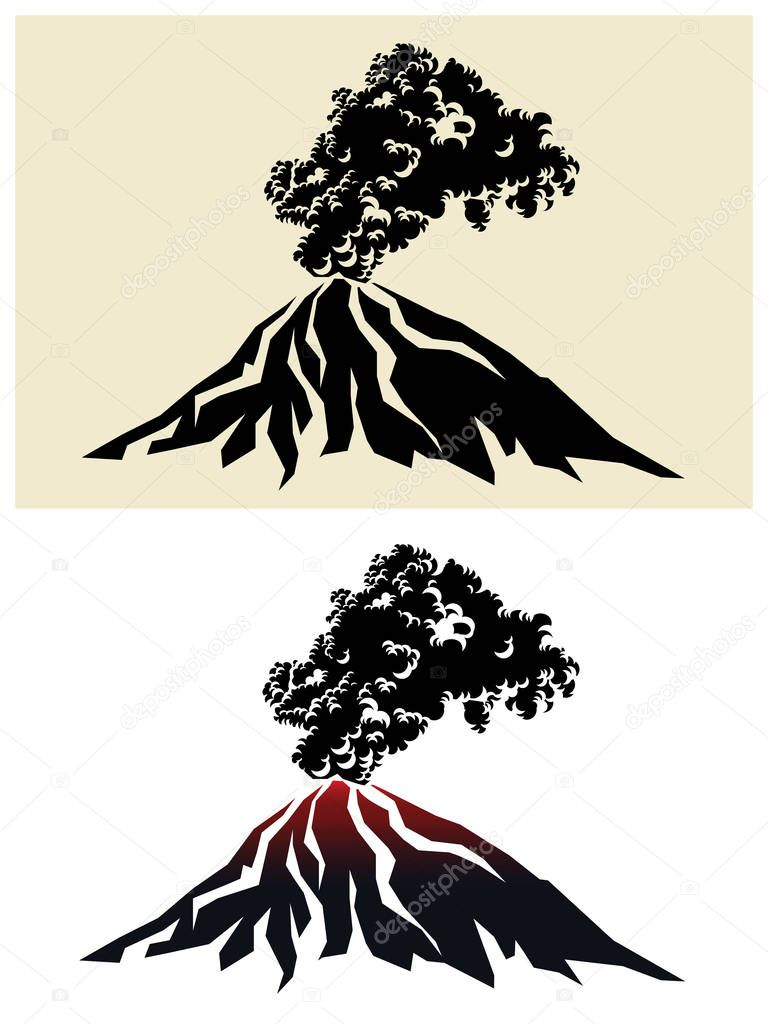 Stylized illustration of a smoking volcano with black clouds of smoke