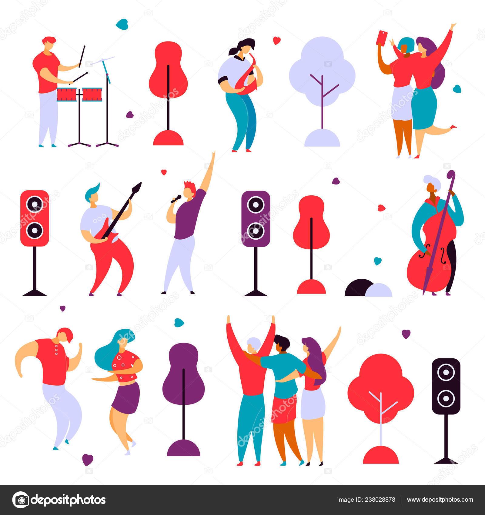 Moderne Flach Comic Figuren Set Für Jazz Rock Musik Fest Konzept