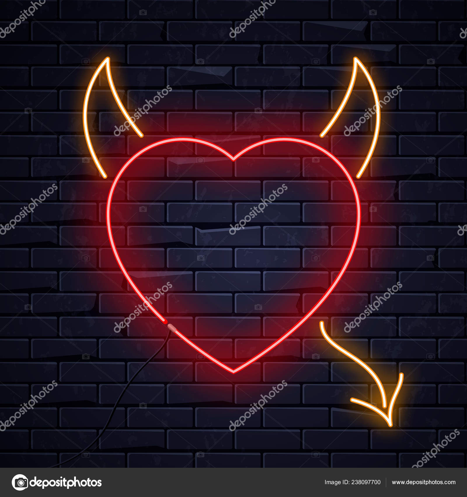 Illuminated Neon Heart Devil Horns Tail Sign Frame Light Electric Banner Glowing Black Brickwall Background Valentines Day Sex Shop Bar Concept Neons Sign Heart Devil Shape Poster Signboard Billboard Stock Vector C Stacy T 238097700