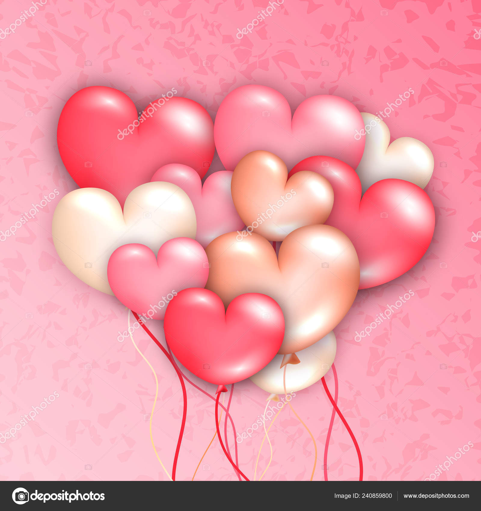 Pink Love Heart Party Balloons Modern Trendy Flyer Concept On Marble Background Greeting Card Mockup Banner Design Web Online Cover Page Poster Brochure Template Stock Vector C Stacy T 240859800