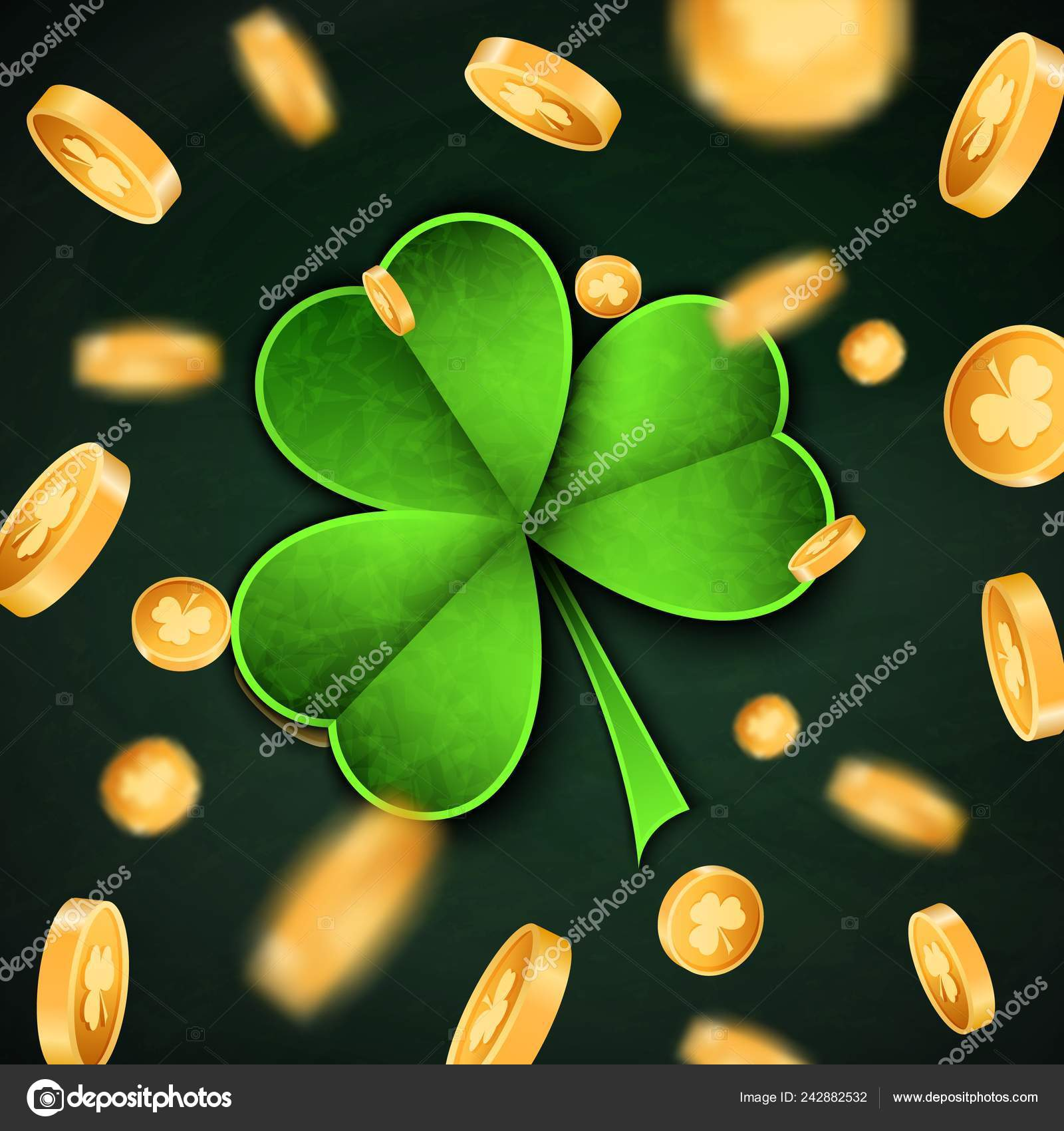 3d Gold Lucky Coins And Saint Patrick Day Traditional Symbol