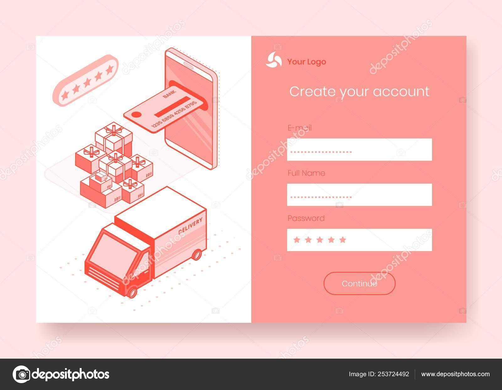Digital isometric design concept set of online shopping app