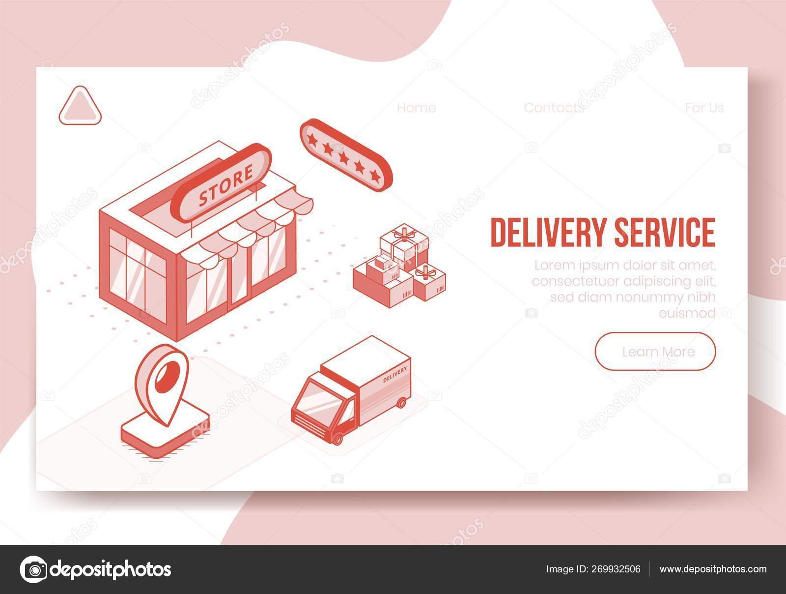 Digital isometric design concept set of delivery service app 3d
