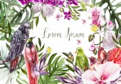 Fényképek Beautiful bright colorful watercolor card with tropical leaves and flowers, birds.